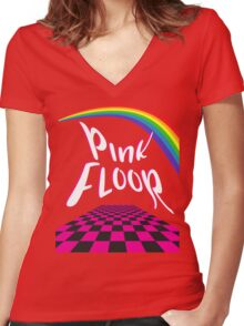 Pink Floor  Women's Fitted V-Neck T-Shirt