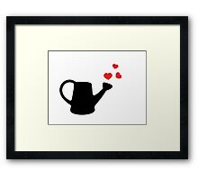 I love my Garden - Watering Can with Red Hearts Framed Print