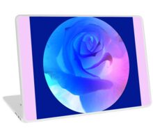 Giant Glowing Blue Rose with Dark Blue Background Laptop Skin