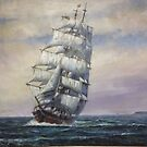 Even earlier painting of a clipper ship. by Mike Jeffries