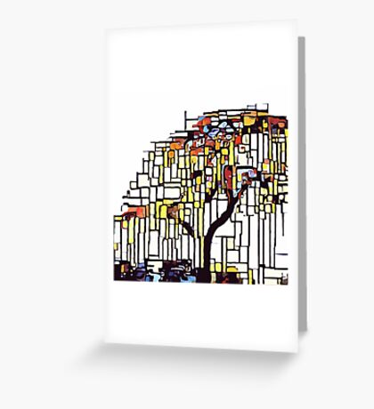 Weeping willow pushed into abstraction Greeting Card