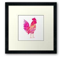 Rooster symbol 2017. Bright red Watercolor illustration.  Framed Print