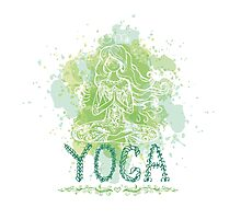 Girl in yoga pose. Doodle  Photographic Print