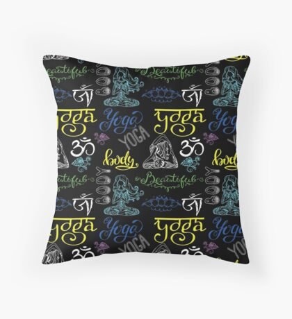 Colorful Yoga seamless pattern with lettering, Throw Pillow