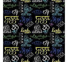 Colorful Yoga seamless pattern with lettering, Photographic Print