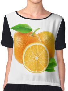 Fresh oranges with leaves Chiffon Top