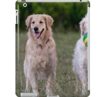 Two golden retrievers looking up with a joyful expression iPad Case/Skin