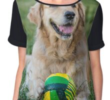 Portrait of golden retriever laying on the green grass Chiffon Top