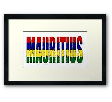 Mauritius Font with Flag Framed Print