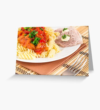 Lunch dish of Italian pasta, vegetable sauce and a slice of meat Greeting Card