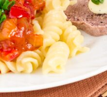 Lunch dish of Italian pasta, vegetable sauce and a slice of meat Sticker