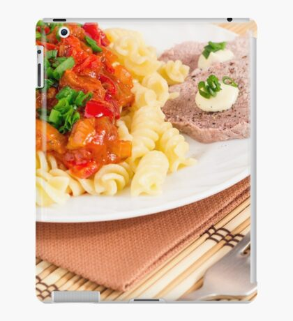 Lunch dish of Italian pasta, vegetable sauce and a slice of meat iPad Case/Skin