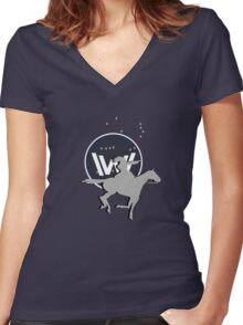 Cowgal with a horse Women's Fitted V-Neck T-Shirt