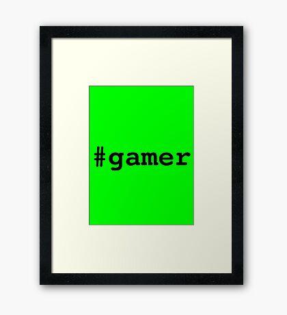 Hashtag Gamer - Black Framed Print