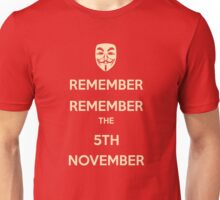 Guy Fawkes 5th November Unisex T-Shirt