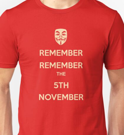 Guy Fawkes 5th November Unisex T-Shirt