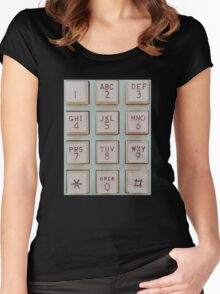 Vintage Telephone Buttons Women's Fitted Scoop T-Shirt