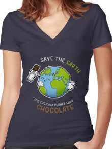 Save Chocolate Women's Fitted V-Neck T-Shirt