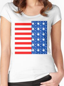 American Flag Inspired Women's Fitted Scoop T-Shirt