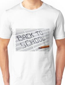 Back to school Statistical Data sheet and pencil selective focus in black and white Unisex T-Shirt