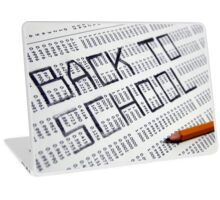 Back to school Statistical Data sheet and pencil selective focus in black and white Laptop Skin