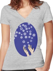 First Snow Night Snowflakes Women's Fitted V-Neck T-Shirt