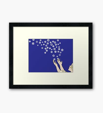 First Snow Night Snowflakes Framed Print