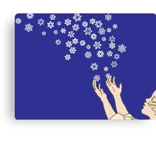 First Snow Night Snowflakes Canvas Print