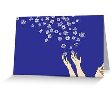 First Snow Night Snowflakes Greeting Card
