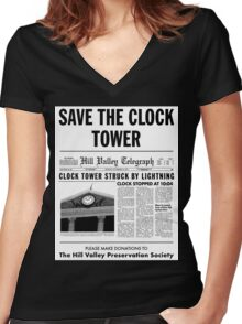 Save the clock tower fan art Women's Fitted V-Neck T-Shirt