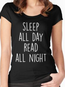 Sleep All day Read All Night T-Shirt  Women's Fitted Scoop T-Shirt