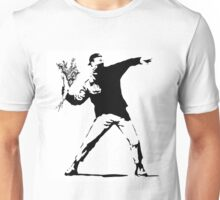 Rage Flower Bomber Stencil Black and White Unisex T-Shirt