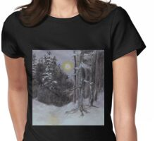 Moonlit Snowy Woods Womens Fitted T-Shirt