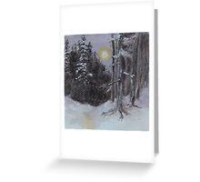 Moonlit Snowy Woods Greeting Card