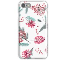 Christmas red berris and fir twigs iPhone Case/Skin