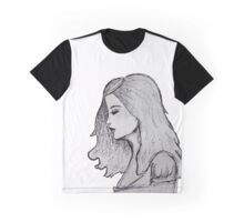Profile of Girl in Gray Graphic T-Shirt