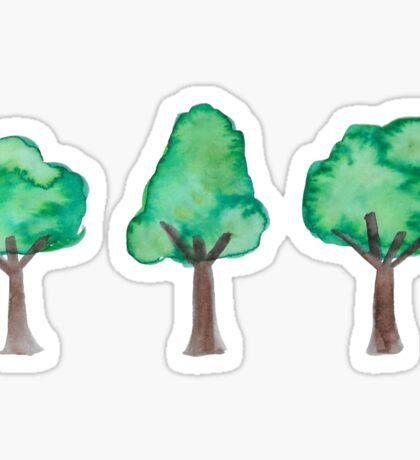 mini watercolor trees Sticker