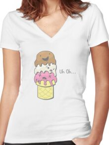 The Triple Decker Catastrophe Women's Fitted V-Neck T-Shirt