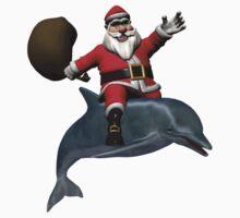 Santa Claus Riding A Dolphin Kids Clothes
