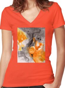 Orange Abstract Art - Iced Tangerine - By Sharon Cummings Women's Fitted V-Neck T-Shirt