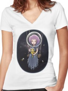 THE SPACE SWING Women's Fitted V-Neck T-Shirt