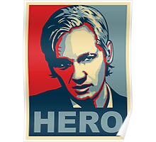 Assange 'HERO' poster - Ultra HD Poster