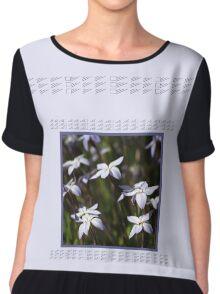 Star White Flowers Chiffon Top