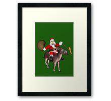 Santa Claus Riding A Donkey Framed Print