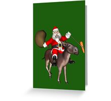 Santa Claus Riding A Donkey Greeting Card