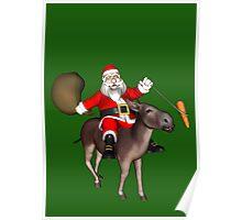 Santa Claus Riding A Donkey Poster