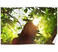 Abstract background with woman silhouette Poster
