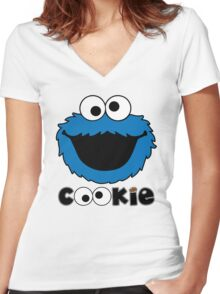 Face Funny Cookie Monster Cartoon Women's Fitted V-Neck T-Shirt