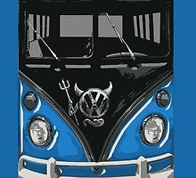 Blue Camper Van With Devil Emblem Art by Jason Subroto