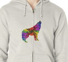 Colourful Wolf Howling For Animal Lovers Zipped Hoodie